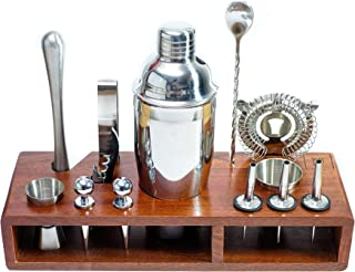 DELBOS Mixology Bartender Kit: 14-Piece Stainless Steel Bar Tools with Sapele Wood Stand I Professional Grade Bar Accessor...