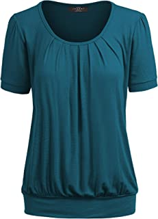 MBJ Womens Scoop Neck Short Sleeve Front Pleated Tunic - Made in USA