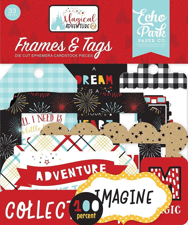 Echo Park Paper Company MAG177025 Magical Adventure 2 Frames & Tags Ephemera Black, red, Yellow, Teal, Kraft