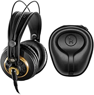 AKG K240 Studio Professional Semi-Open Over-Ear Stereo Headphones Bundle with Knox Gear Hard Shell Headphone Case (2 Items)