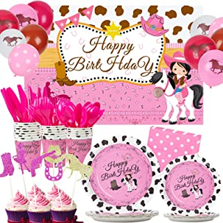 176 PCS Cowgirl Birthday Party Supplies Horse Balloon Decorations Kit for Girls, Western Party Plates Napkins Cups Cutlery...