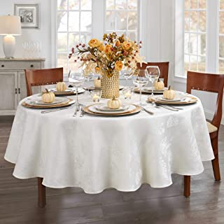 """Elrene Home Fashions Elegant Woven Leaves Jacquard Damask Fabric Tablecloth for Fall/Harvest/Thanksgiving, 90"""" Round, Ivory"""