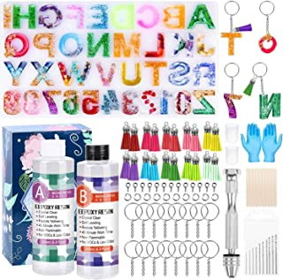 Resin Keychain Molds, Shynek Silicone Resin Kit with Alphabet Mold, Epoxy Resin, Keychain Tassels and Pin Vise Set for Res...