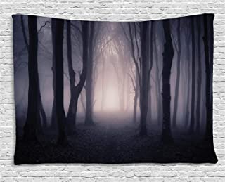 Ambesonne Forest Tapestry, Path in Dark Deep in Forest with Fog Halloween Creepy Twisted Branches Picture, Wide Wall Hanging for Bedroom Living Room Dorm, 80