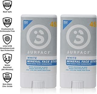 Surface Mineral Face Sunscreen Stick - Reef Safe, Broad Spectrum UVA/UVB Protection, Non-Migrating, Non-Greasy, Ultra Water Resistant - SPF 45, 0.5oz, 2 Count