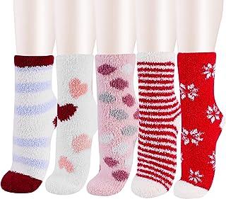 Pack Women Girls Fuzzy Fluffy Socks, Cabin Soft Warm Slipper Crew Cute Cozy Socks