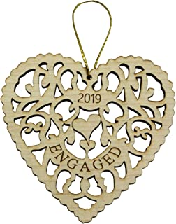 Twisted Anchor Trading Co Engagement Ornament 2019 - Heart Shaped Laser Cut Wood Ornament - 3 Inch - Comes in Organza Gift Bag so It's Ready for Giving