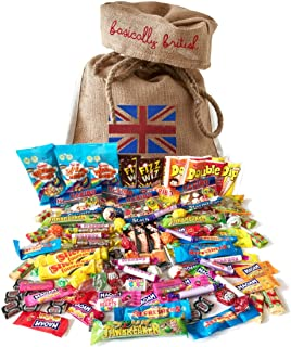 British Retro Nostalgic 100 Pieces Candy Assortment by The Yummy Palette | Fizz Wizz, Maoam Stripes, Haribo, Rainbow Drops and More! in Basically British Burlap Bag