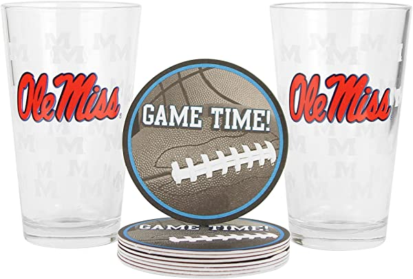 NCAA Pint Glass And Coaster Set 2 Pack Ole Miss Rebels