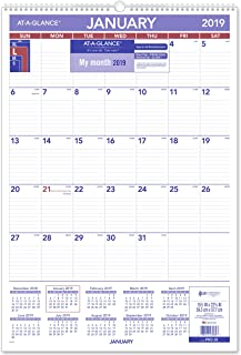 """AT-A-GLANCE 2019 Monthly Wall Calendar, 15-1/2"""" x 22-3/4"""", Large, Wirebound (PM328)"""