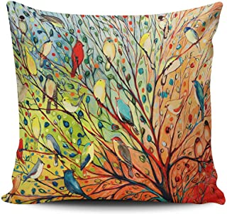 KEIBIKE Personalized Abstract Trees and Birds Square European Decorative Pillowcases Print Zippered Throw Pillow Covers Cases 26x26 Inches One Sided