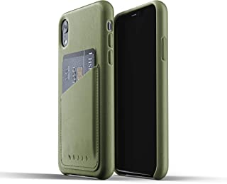 Mujjo Full Leather Wallet Case for iPhone Xr   Premium Genuine Leather, Natural Aging Effect   Leather Pocket for 2-3 Cards, Wireless Charging (Olive)