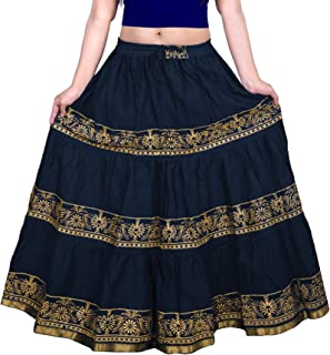 Skirt Women's Cotton Fancy Design Block Print Skirt With Elastic & Knote In Free Size For XS to XL