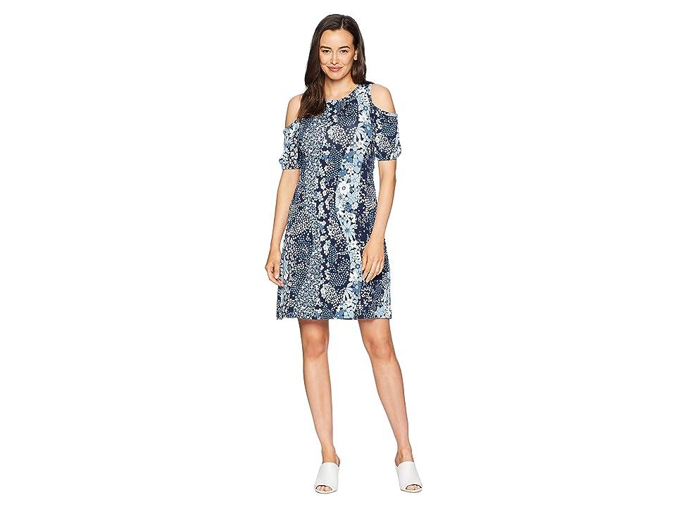 MICHAEL Michael Kors Patch Flower Cold Shoulder Dress (True Navy/Light Chambray) Women