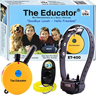 Best Bundle of 2 Items - E-Collar - ET-400 - 3/4 Mile Rechargeable Remote Waterproof Trainer Educator - Static, Vibration and Sound Stimulation Collar with PetsTEK Dog Training Clicker Review