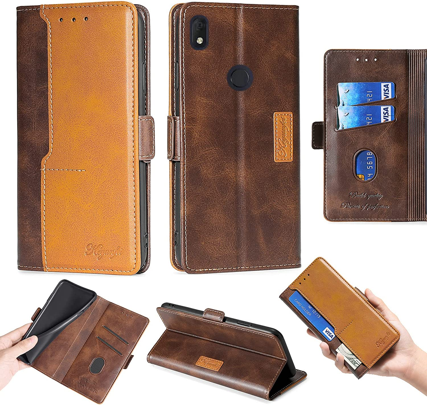 Oujietong Flip Case for Alcatel Axel ATT Phone Case Cover for Alcatel Lumos Cricket Wireless Phone Case Stand Cover Brown