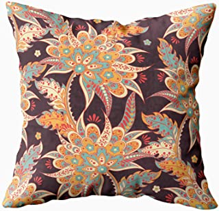 Shorping Holiday Pillow Covers, Zippered Covers Pillowcases 16X16Inch Throw Pillow Covers Ethnic Floral Ornament Batik Style Stock for Home Sofa Bedding