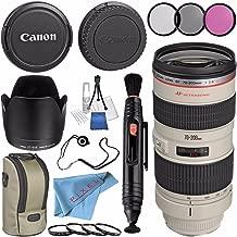 Canon EF 70-200mm f/2.8L USM Lens 2569A004 + 77mm 3 Piece Filter Kit + 77mm Macro Close Up Kit + Lens Cleaning Kit + Lens Pen Cleaner + Fibercloth + Lens Capkeeper Bundle