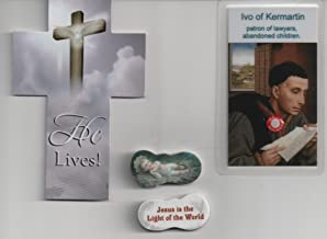 Saint Ivo of Kermartin Relic Holy Card, Cross Bookmark & Jesus in Manger Eraser Patron of Abandoned Children and Lawyers