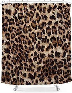 LIGHTINHOME Leopard Print Shower Curtain African Wild Safari Animal 72Wx84H Brown Panthera Leopard Skin Pattern Creative Modern Art Fabric Waterproof Bathroom Home Decor 12 Plastic Hooks