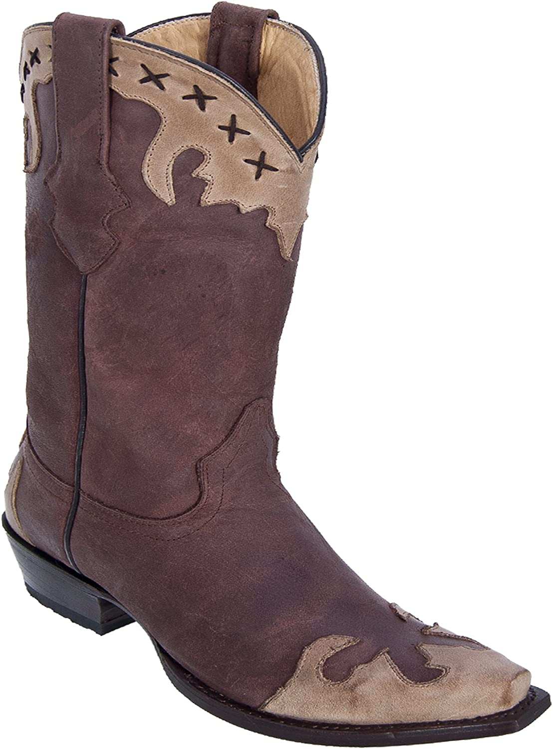 Los Altos Ladies Snip Toe Genuine Leather Desert Skin Western Boots