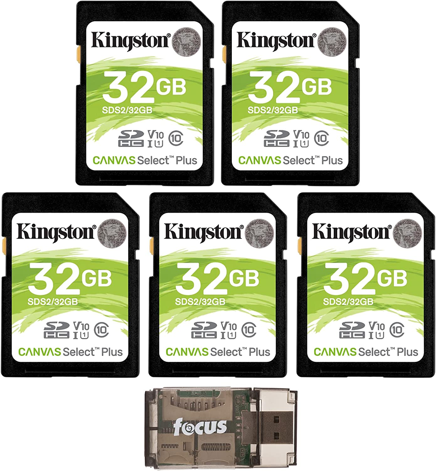 Kingston 32GB SDHC Canvas Select Class 10 UHS-1 (SDS/32GB) Memory Card (5-Pack) with Focus High Speed Card Reader Bundle (6 Items)