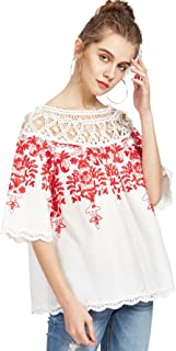 Women's Cold Shoulder Floral Embroidered Lace Scalloped Hem Blouse Top
