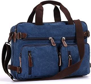 Men's Messenger Travel Shoulder Bag Leather Backpack Canvas Business Laptop Briefcase Bag (Blue)