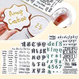 Alpurple 5 PCS Fondant Cake Stamp Mold-Reusable Food-grade DIY Alphabet Cookie Stamp Cutter Fondant Mould Ideal for Fondan...