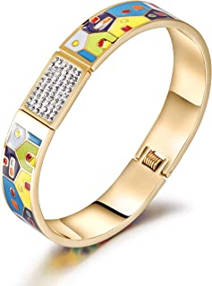 CIUNOFOR Cubic Zirconia Enamel Bracelet for Women Girls Vintage Pop-Art Colorful Cuff Bangle Stainless Steel Gold Plate Tone Wide Band Handmade Jewelry