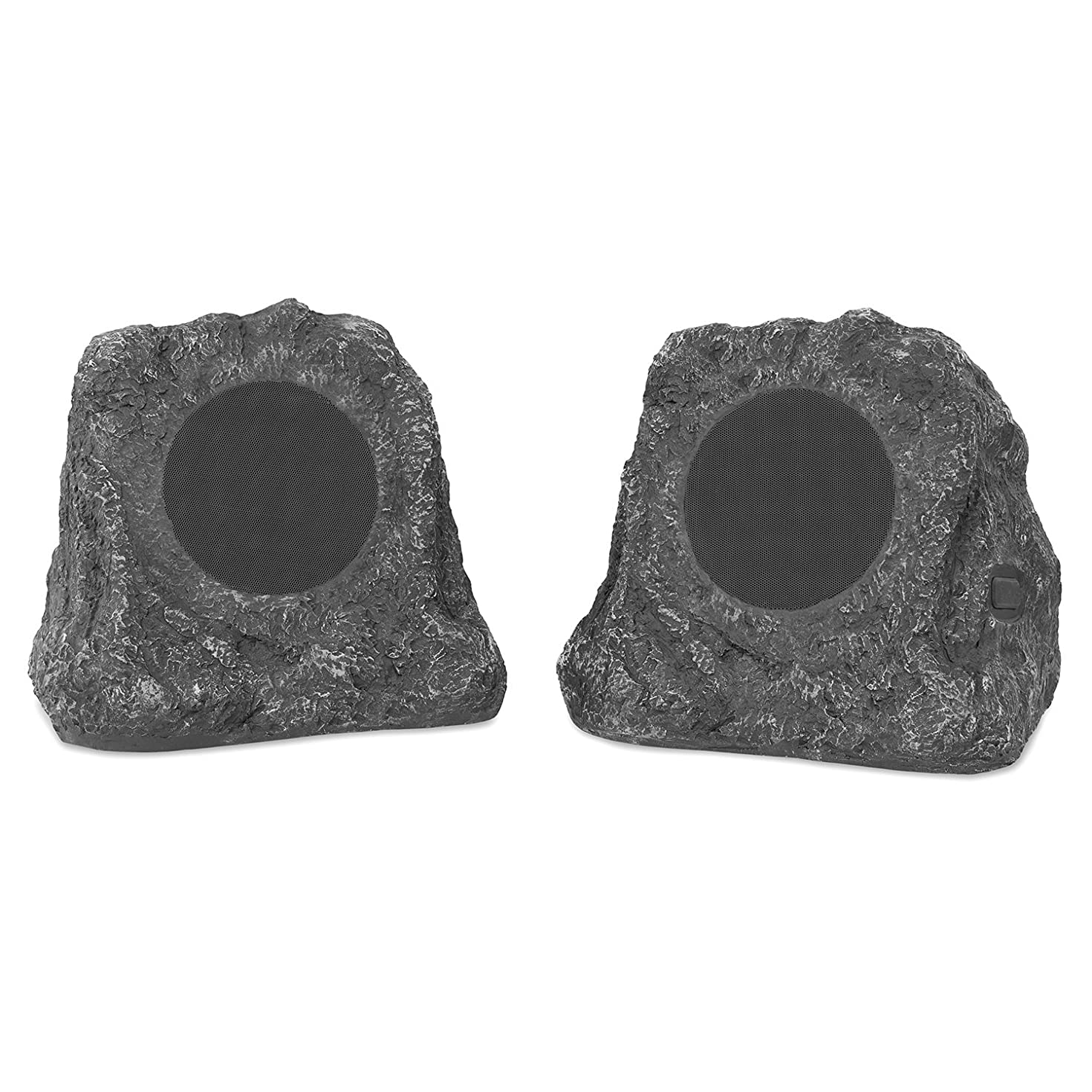 Innovative Technology Premium 5-Watt Bluetooth Outdoor Rock Speakers with A/C Adaptor and Built In Rechargeable 5200mAh Battery, Pair, Charcoal - ITSBO-513P5