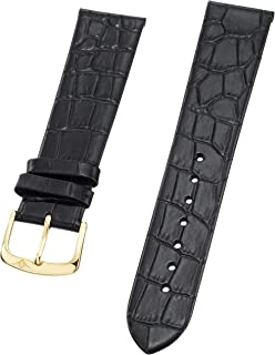 Stuhrling Original Mens 20mm Black Thin Leather Strap with Yellow Tone Tang Buckle st.216A.33351