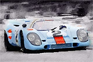 Trademark Fine Art Porsche 917 Gulf Watercolor by NAXART, 12x19, Multiple