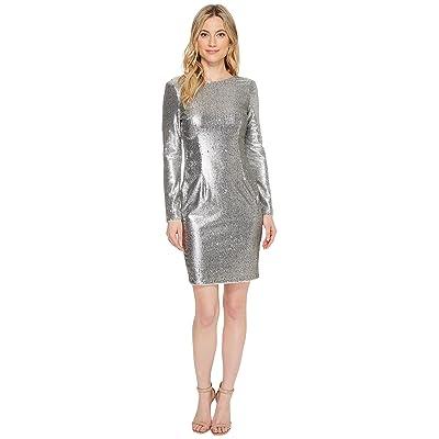 Aidan Mattox Sequin Sheath Dress (Silver) Women