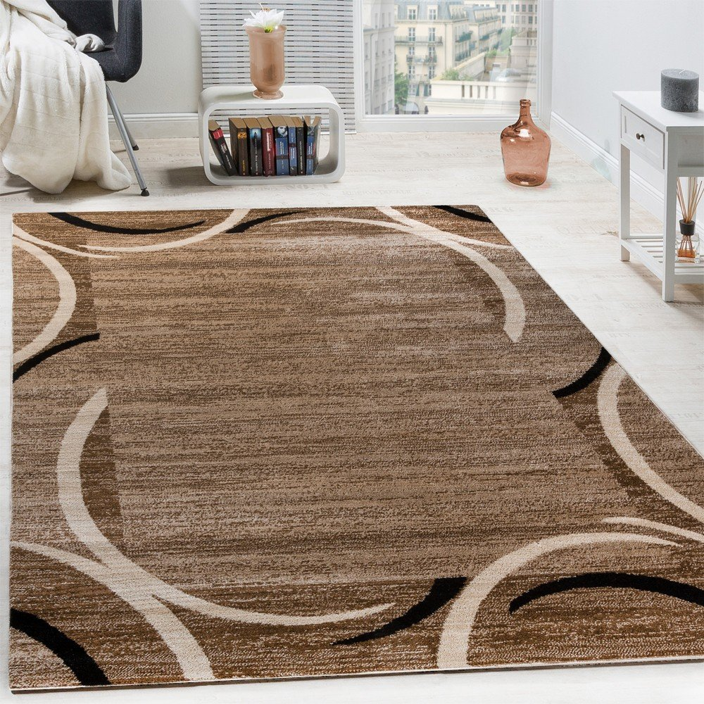 Paco Home Living Room Rug Designer Border Flecked Brown Black Cream Unbeatable Deal Size & Brown and Cream Rug: Amazon.co.uk