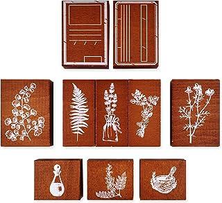 MissOrange『木製ゴム印セット』植物 葉 ラベンダー フレームスタンプ クリエイティブスタンプセット クラフトカード スクラップブッキング 手帳用 10個セット M-67