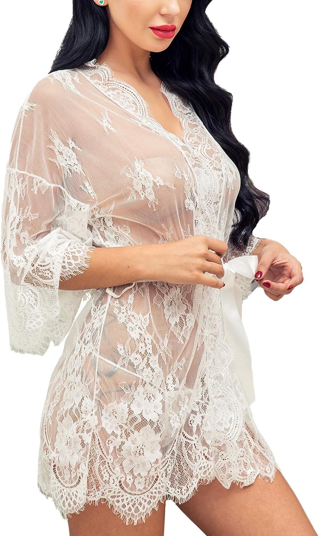 Ababoon Women Lingerie Robe Lace Kimono Bathrobes Sexy Nightgowns Babydoll Mini V Neck Nighty Sleepwear S~4XL