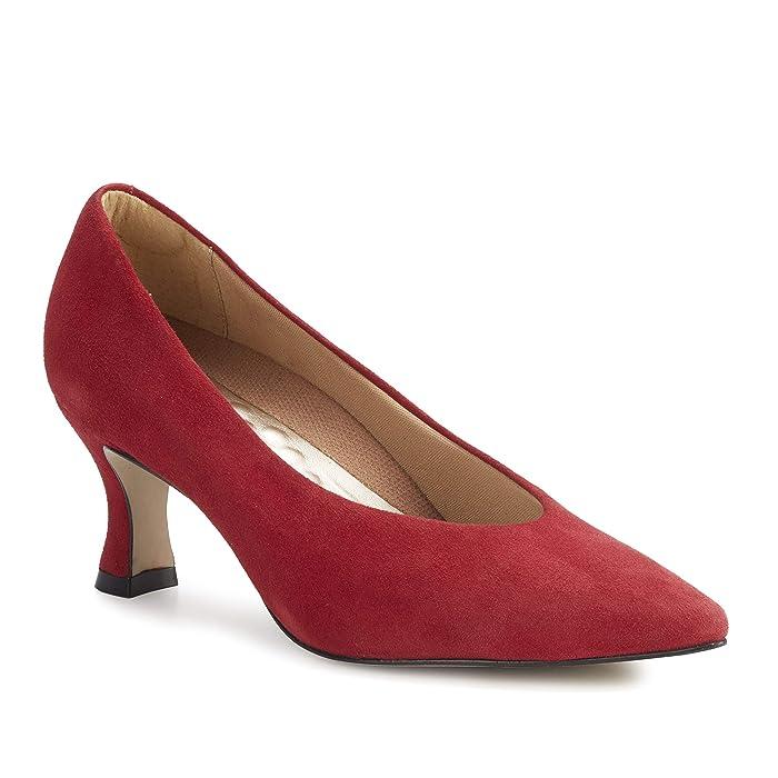 Edwardian Shoes & Boots | Titanic Shoes Walking Cradles Sasha Red Suede Womens Shoes $129.95 AT vintagedancer.com