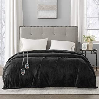 Beautyrest Plush Elect Electric Blanket with Two 20 Heat Level Setting Controllers equip with Secure Comfort Technology and 10 Hours Auto Shut Off, Full, Black