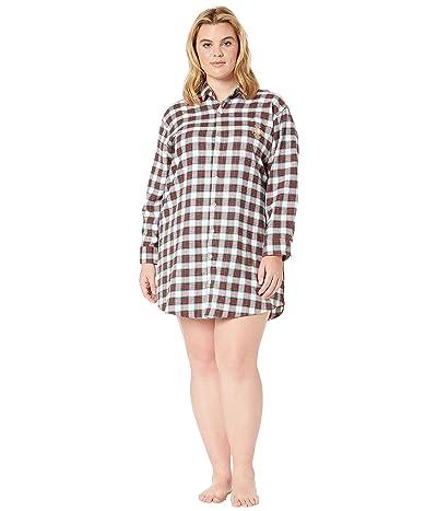 LAUREN Ralph Lauren Plus Size Brushed Twill Long Sleeve His Shirt Sleepshirt (Ivory Plaid) Women