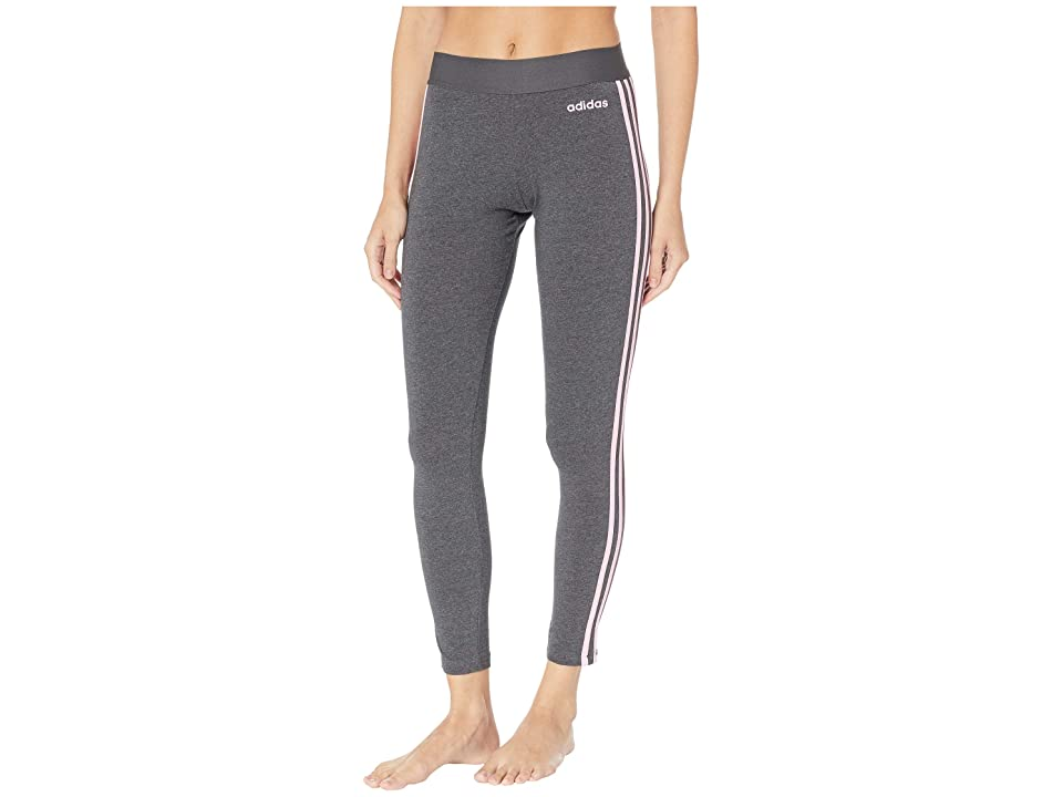 adidas Essential 3-Stripes Long Tights (Dark Grey Heather/True Pink) Women