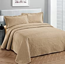 """Fancy Collection Luxury Bedspread Coverlet Embossed Bed Cover Solid Taupe New Over Size 118""""x106"""" King/California King"""