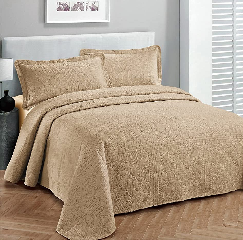 面積トーナメントコード(Full/Queen, Taupe) - Fancy Collection 3pc Luxury Bedspread Coverlet Embossed Bed Cover Solid Taupe New Over Size 250cm x 270cm Full/queen