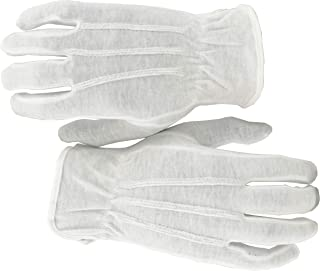 100% White Cotton Marching Band Parade Glove Formal Dress Gloves Service Gloves Inspection Gloves, Sold by Pair (2Piece), Size Large