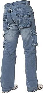 ENZO Mens Designer Cargo Combat Jeans Denim Pants All Waist Sizes