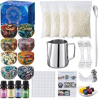 Coffret cadeau kit de fabrication de bougies, cire d'abeille 8 boîtes de conserve pour bougies bricolage, 135 ensembles de...