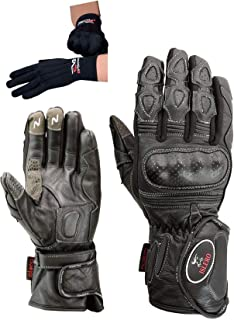 Islero Professional Leather Motorbike Motorcycle Gloves Windproof Carbon Fiber Knuckle Racing Thinsulate Hipora Smartphone Touch Compatible Winter Thermal Inner Gloves Included FREE