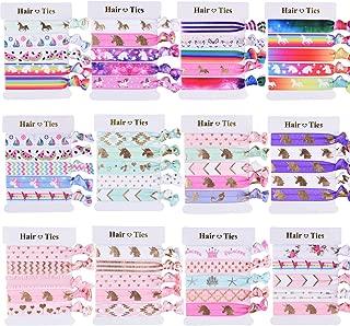 SIQUK 60 Pieces Unicorn Hair Ties Colorful Hair Elastics Ponytail Holder Hair Bands for Girls