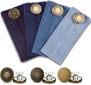 Hexchasty 4 Packs Denim Waist Extender Buttons for Pants Waistband Button Extenders for Jeans No Sewing Extender Buttons for Women Men Trousers