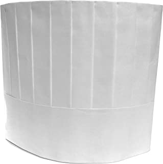 KingSeal Disposable Paper Chef's Hats, Pleated, Adjustable Band, 10 Inches Tall, White - 20 pcs per Pack
